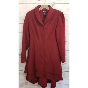 Hot top deep red Trench Coat Lined Medium Gothic